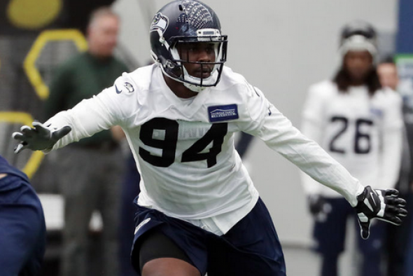 At 6-foot-6 and 295 pounds, Malik McDowell stood out among the Seahawks rookies. / Corky Trewin, Seahawks