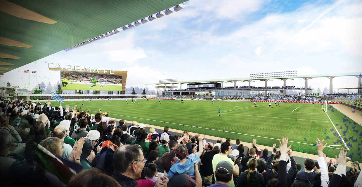 Artist's rendering for 5,000-seat stadium in Tacoma next to Cheney Stadium. / Populous