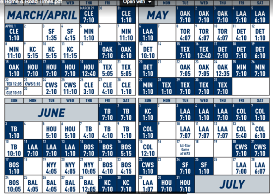Selective image throughout mariners printable schedule